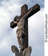 crucifix in The Popes' Palace in Avignon, France - crucifix...