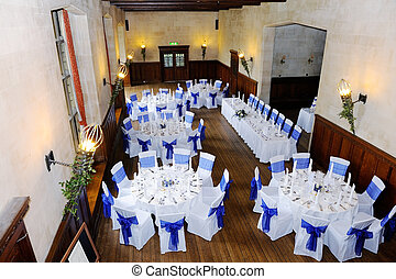 Wedding reception with blue and white decoration