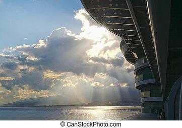 Schiff, Sonnenuntergang, segeltörn