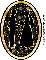 Gold bride and groom in oval - Gold bride and groom on a...