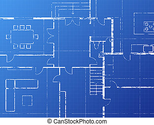 Blueprint - Grungy architectural blueprint illustration on...