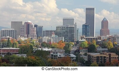 Portland Oregon City in Fall - Portland Oregon City Skyline...