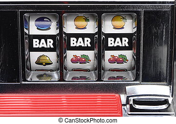 Slot machine and jackpot three bars on light background