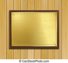 Brass Plaque On Wood Panel Backgrou - Vector image of a...