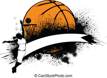 Woman Basketball Grunge Banner - Vector illustration of a...