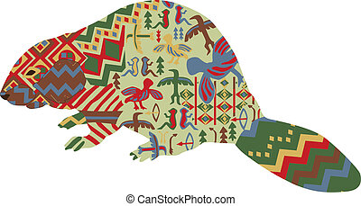 beaver in the ethnic pattern of Ind - beaver in the ethnic...