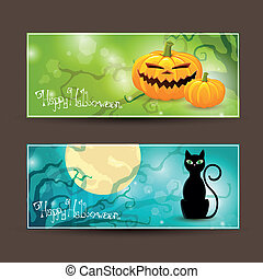 Two Vector Halloween Banners - Vector Illustration of Two...
