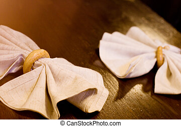 tableware - two napkins in rings on a table