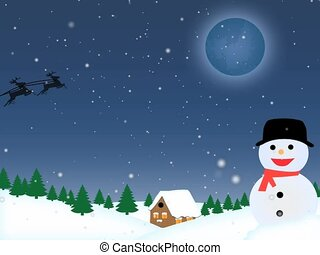 Santa Riding sleigh in the sky on snowing landscape