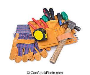 Tool belt and protective gloves
