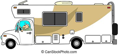 Man driving a motorhome - This illustration depicts a man...