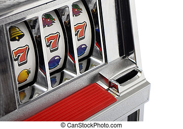 Slot machine and jackpot three seven isolated on white...