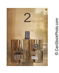 Intercom doorbell panel in brass