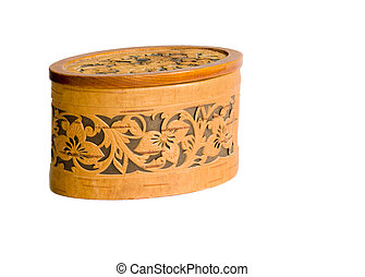 Birch bark casket isolated on white - old small box isolated...