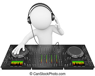 3D white people. DJ with a mixer - 3d white person disc...