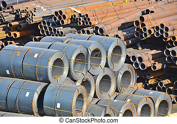 Stacked rusty steel pipe