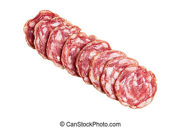 sliced salami directly above isolated on white background