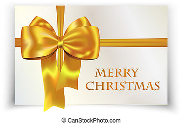 Golden/yellow bow on Merry Christmas card. Vector...