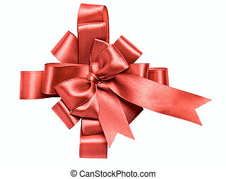 award red bow made of ribbon isolated on white