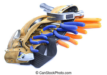 view of a tool belt with hand tools