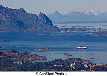 Cruise ship in fjord on Lofoten - Large cruising ship...