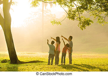 an asian family pointing to somewhere during a beautiful...