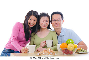 asian family dining iwht isolate white background