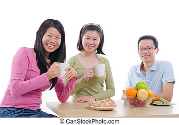 asian family dining with isolated white background