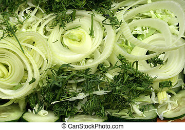 salad background - salad from cabbage, peel, cucmber and...