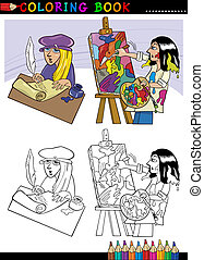 poet and painter cartoon for coloring - Coloring Book or...