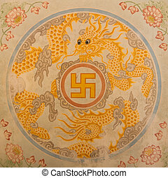 Swastika symbol in decoration in a ancient temple in Vietnam...