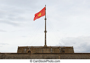 Vietnam flag on flag pole in Hue Citadel