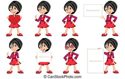 Vector girls cartoon characters - Vector collection girls...