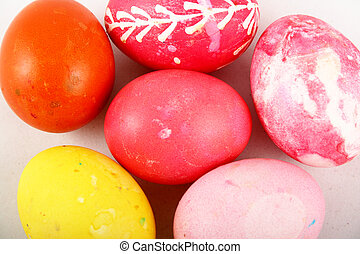 Easter eggs - Multicolored easter eggs: green, yellow, red,...