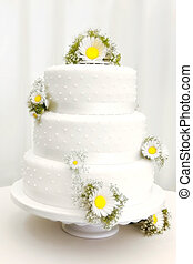 Wedding cake - Ttraditional three tier wedding cake with...