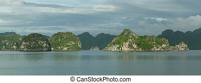 Limestone rocks in Halong Bay, Vietnam, one of the seven...
