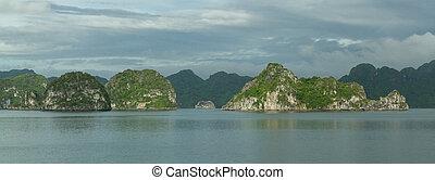 Halong, piedra caliza, bahía,  vietnam, rocas