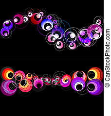 Colorful circles horizontal banner.
