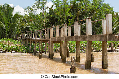 Concrete bridge into the jungle, mekong delta Vietnam