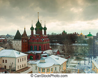Old Church in Yaroslavl, Russia, in winter