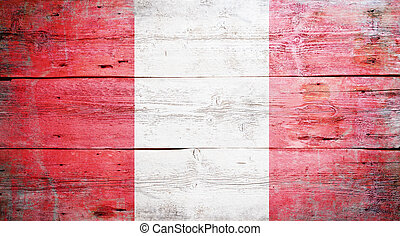 Flag of Peru painted on grungy wood plank background