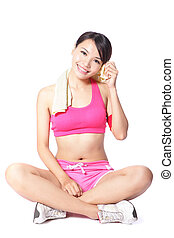 young woman relax after sport - beautiful young woman take a...