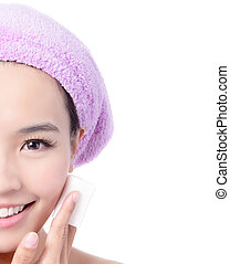 Girl remove makeup by Cleansing Cotton - Young Beautiful...