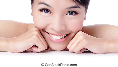 girl pretty face with healthy skin