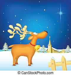 Reindeer in Christmas night - illustration of reindeer...