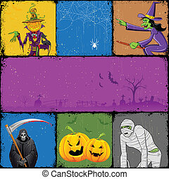Halloween Collage - illustration of collage for different...