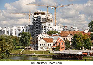 Minsk downtown across Svisloch river