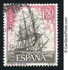 Corvette Atrevida - SPAIN - CIRCA 1964: stamp printed by...
