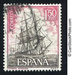 Corvette Atrevida - SPAIN - CIRCA 1964: stamp printed by...