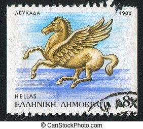 Pegasus of Leukas - GREECE - CIRCA 1988: stamp printed by...